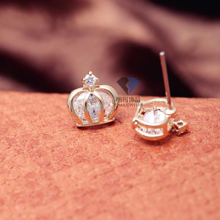 韩版小巧可爱饰品批发 公主皇冠镶嵌aaa锆石耳钉 爆美耳饰 混批
